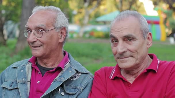 Portrét úsměv starý muž na lavičce v parku, při pohledu na fotoaparát