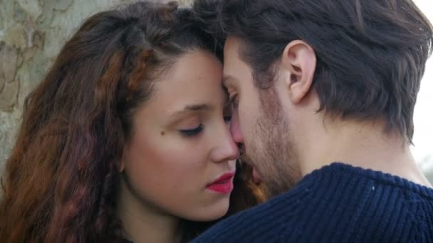 couple in love kissing: couple falling in love, tenderness