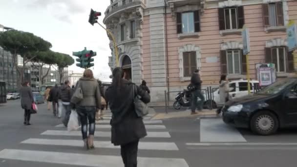 people walking in crosswalk - STEADYCAM SHOT