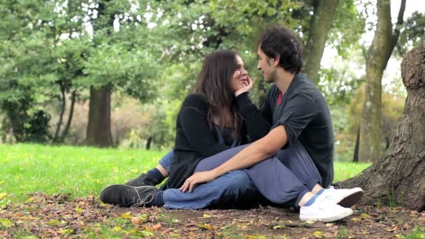 Young beautiful couple kissing in autumn park