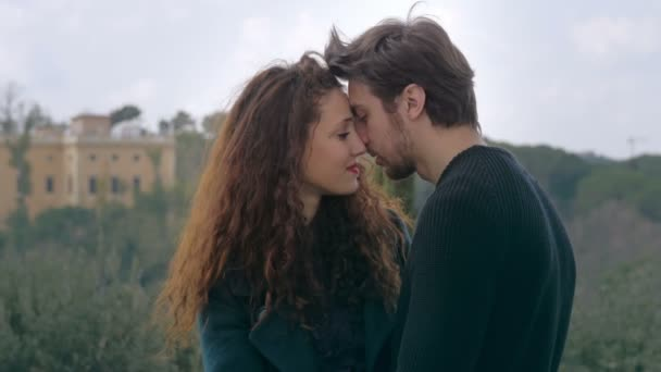 tender couple kissing for the first time: beginning of love, lovers,