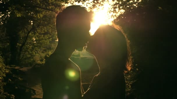 tender kisses at the sunset: couple kissing in silhouette