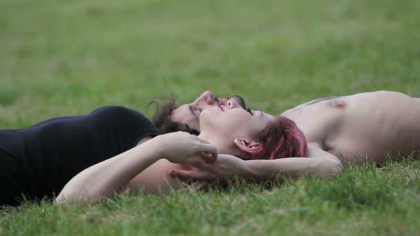 couple in love lying in a meadow