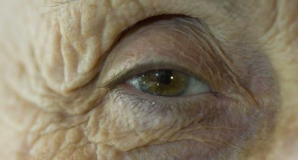 makro očí postarší žena, staré oči, velké vrásky