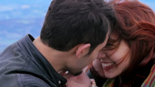 Young couple in love, hugging and kissing,lover,mountain