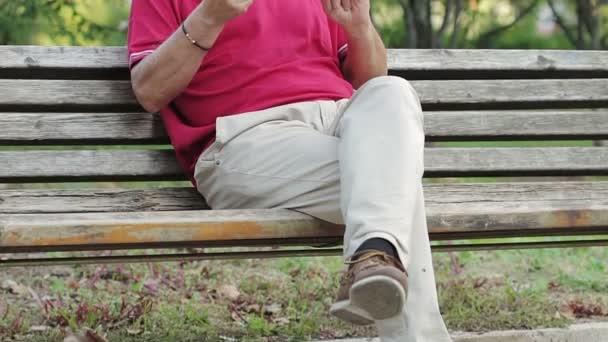 Senior benutzte Tablet-Computer im Park