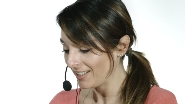 smiling call center operator with white background