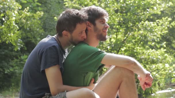 Outdoors gay men kiss video