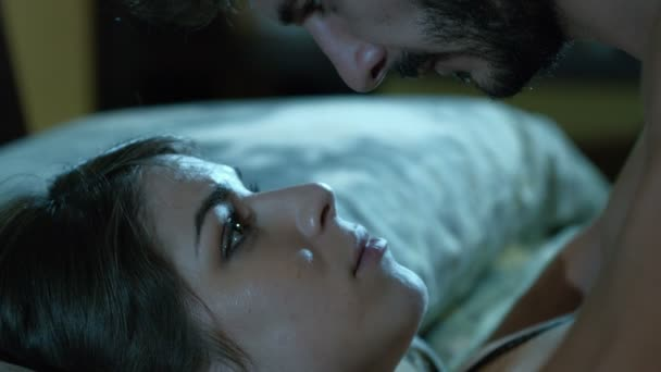 couple of lovers having sex in the bed: particular portrait