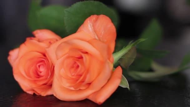 Női kéz rózsák hozza az asztalra