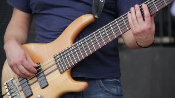 bassist plays at a live concert