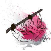 Nízké poly lenost na černé a růžové akvarel