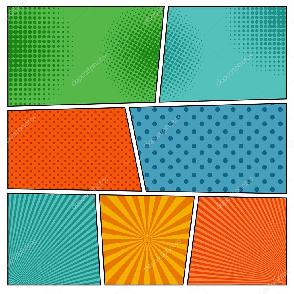 Comic book backgrounds in different colors — Stock Vector ...
