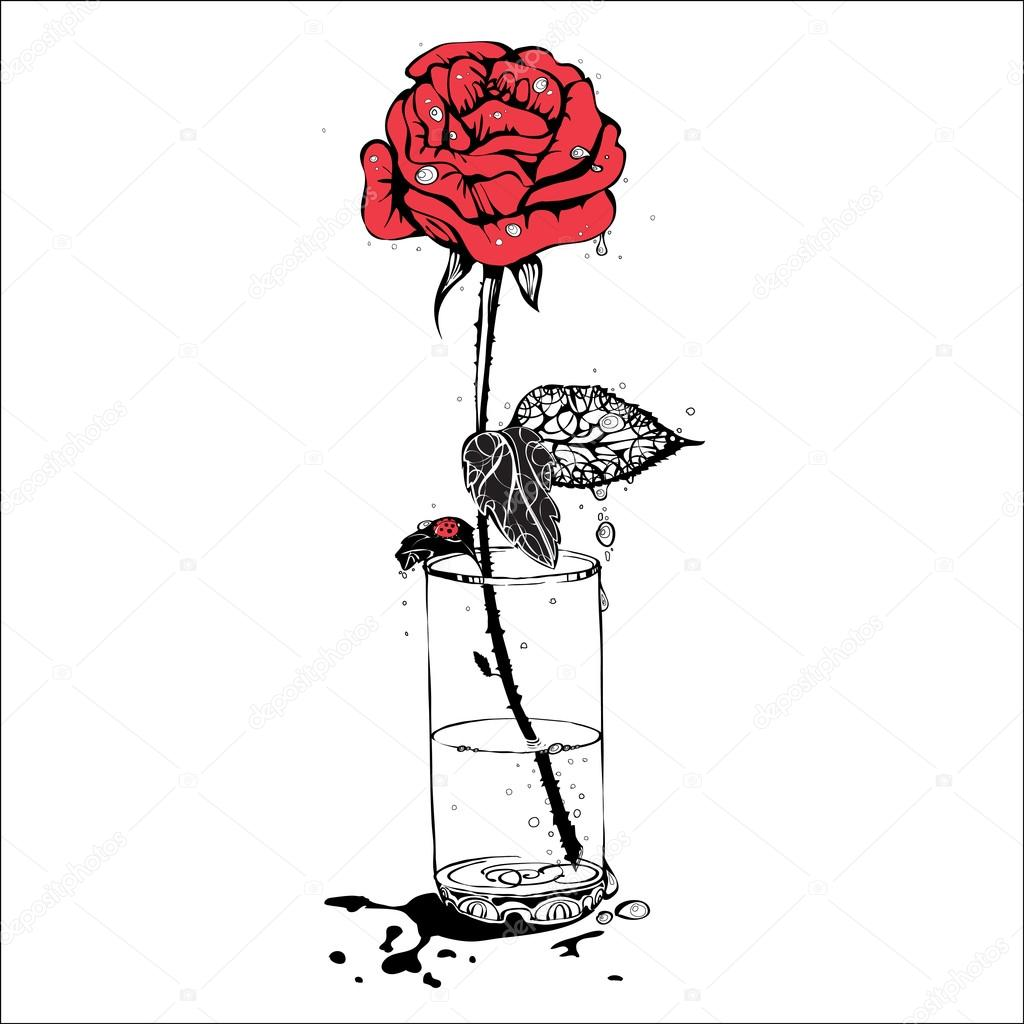 Vector Illustration Of A Red Rose A Symbol Of Love And Passion
