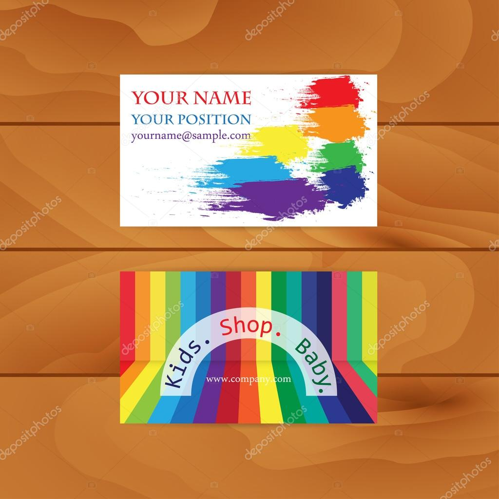 A set of two colorful business cards childrens shop paints r a set of two colorful business cards childrens shop paints r stock colourmoves