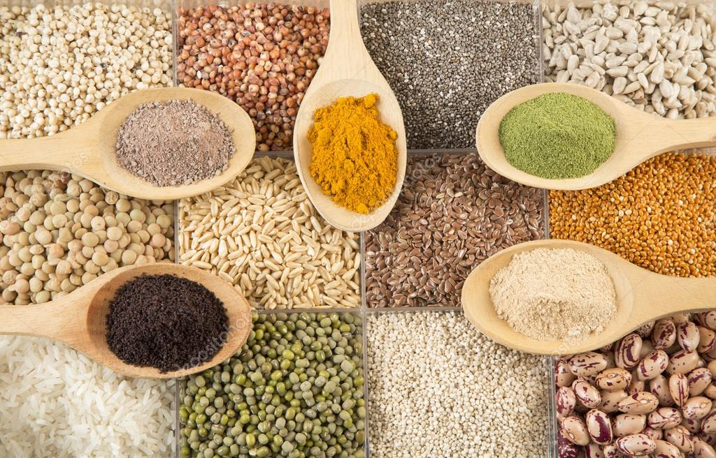 group of grains and superfoods