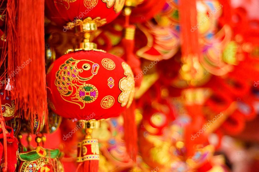 Traditionelle chinesische roter Fisch Dekorationen — Stockfoto ...