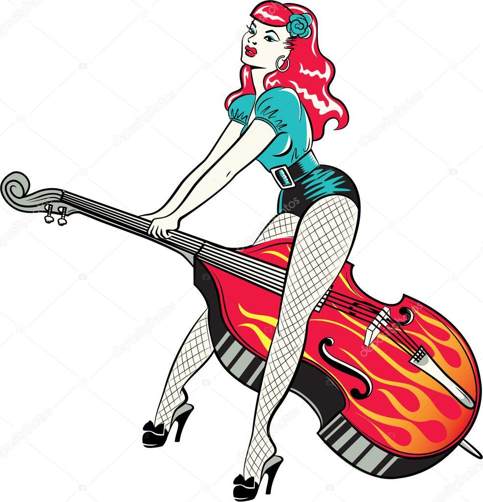 rockabilly pinup girl riding a double bass stock vector