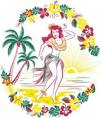 Vintage Hula girl on the Beach