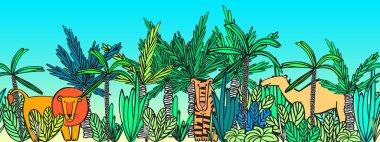 Vector seamless pattern African wild animals: lion,crocodile,hippo,crocodile,giraffe,tiger,camel,zebra. Animals in the jungle.