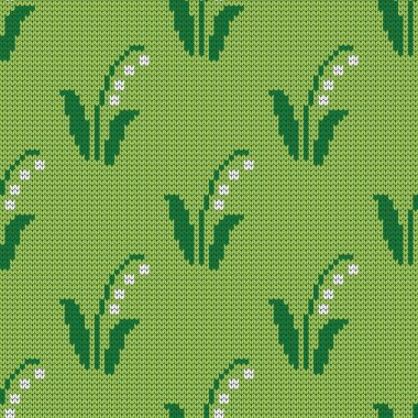 Knitted seamless pattern lilies of the valley