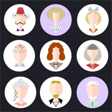 Avatar flat design icons. People icons.