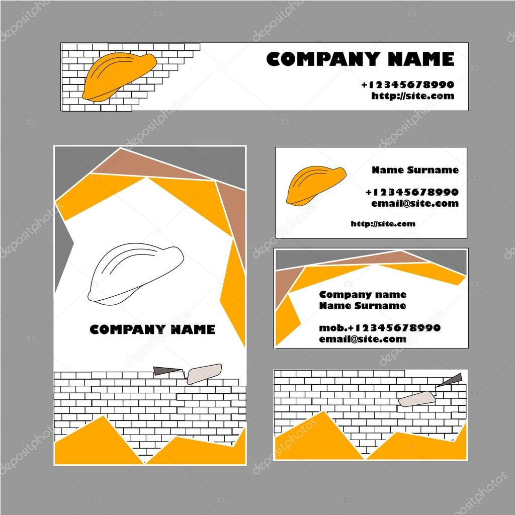 Set of business card template for construction business — Stock ...