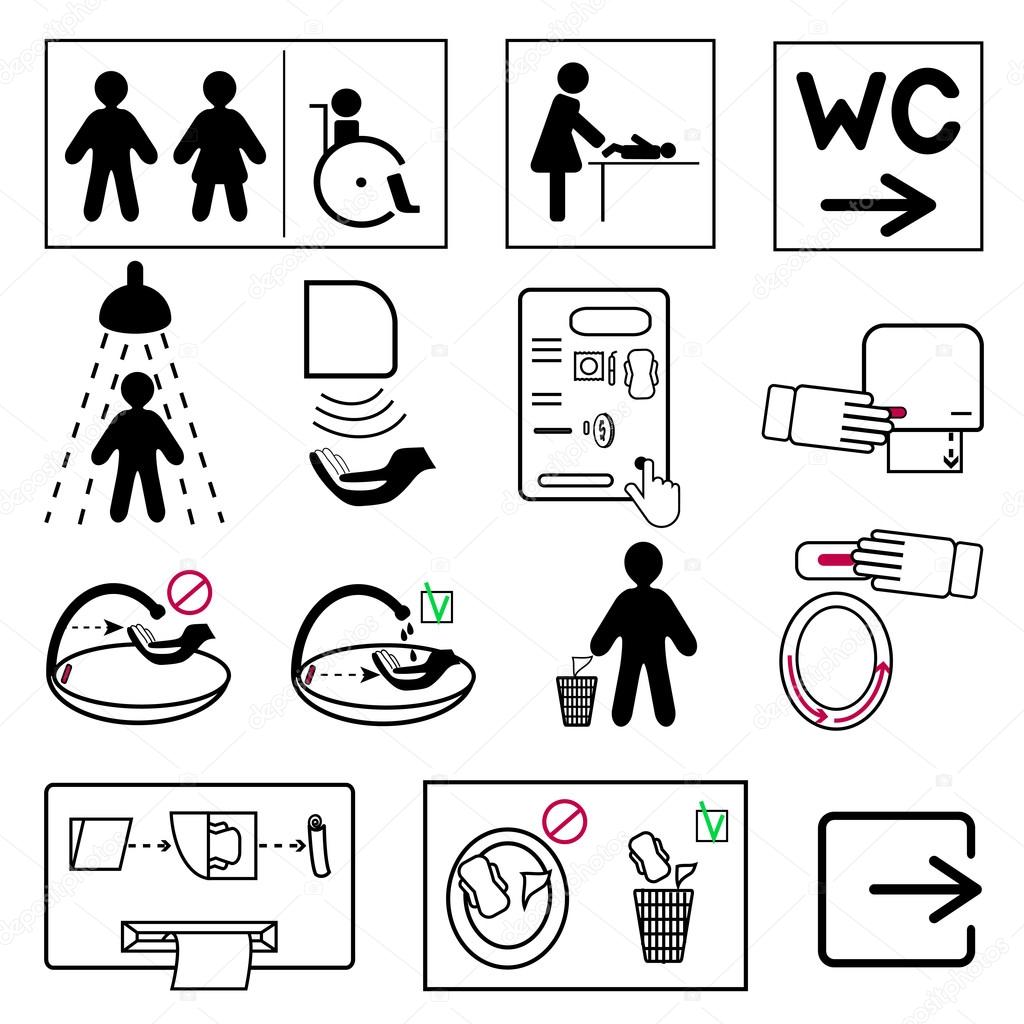 Set of toilet and bathroom signs for public places stock vector set of toilet and bathroom signs for public places stock vector buycottarizona Image collections