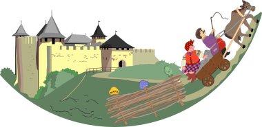 Khotyn Fortress, Ukraine. Vector sketch