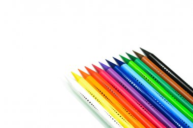 Sharpening pencils color gradations compared CONSECUTIVE color scale, isolated on a pure white background, VERSION with space for text or banner and sharp glare (reflexes) on pencils