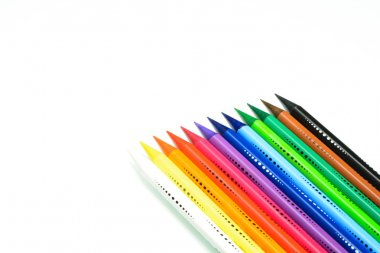 Sharpening pencils color gradations compared CONSECUTIVE color scale, isolated on a pure white background, VERSION with space for text or banner