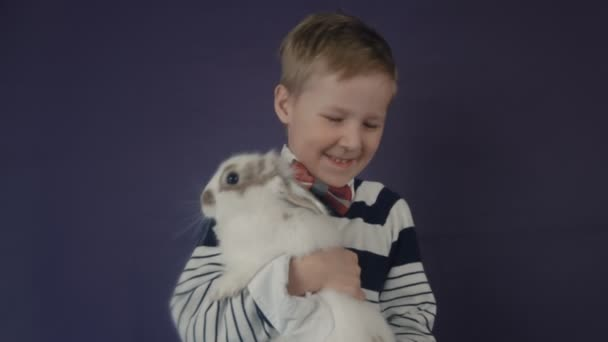 White Easter Bunny playing with a child.