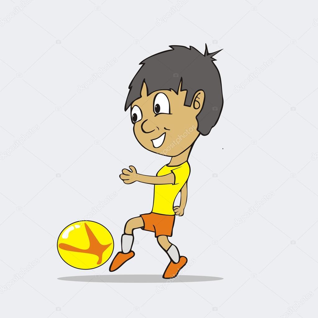 Kinder Spielen Fussball Cartoon Stockvektor C Dennyranch