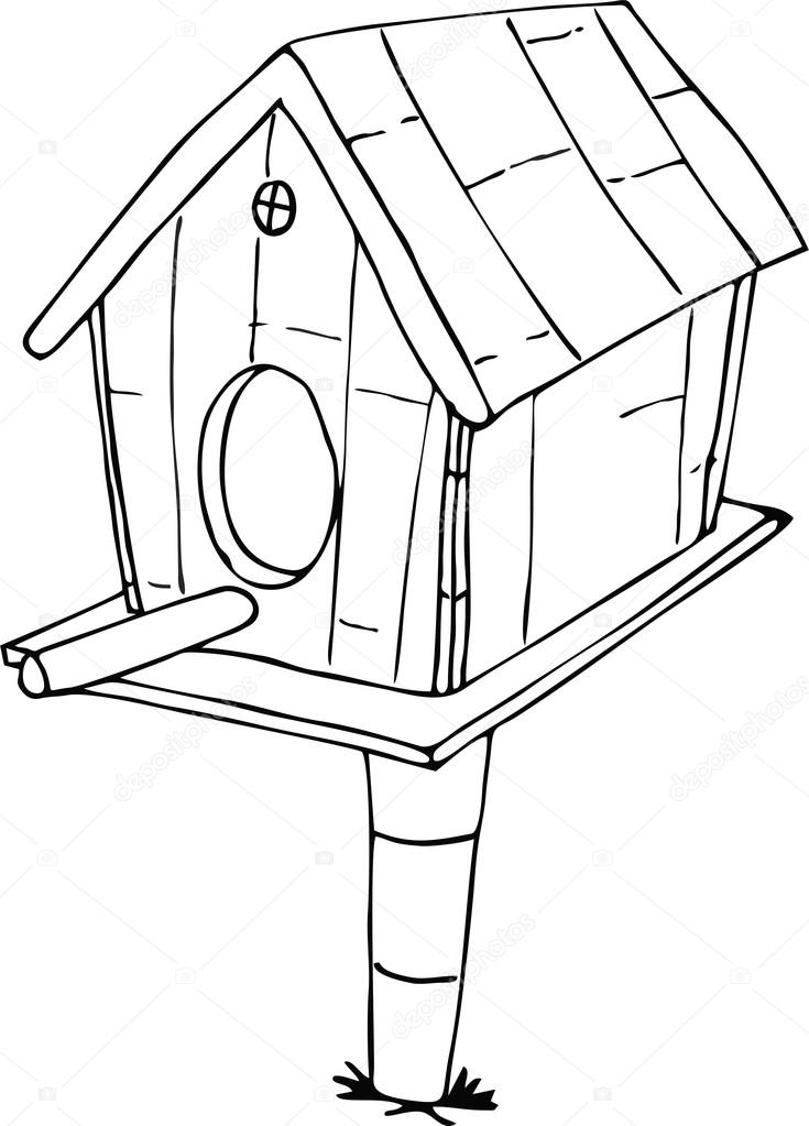 Drawn Doodle Style Bird House Stock Vector C Dennyranch Gmail