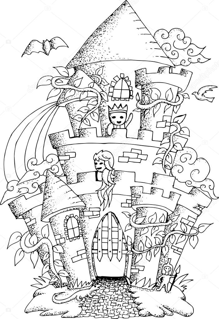 Black And White Illustration Of A Fairy House For Adult Coloring