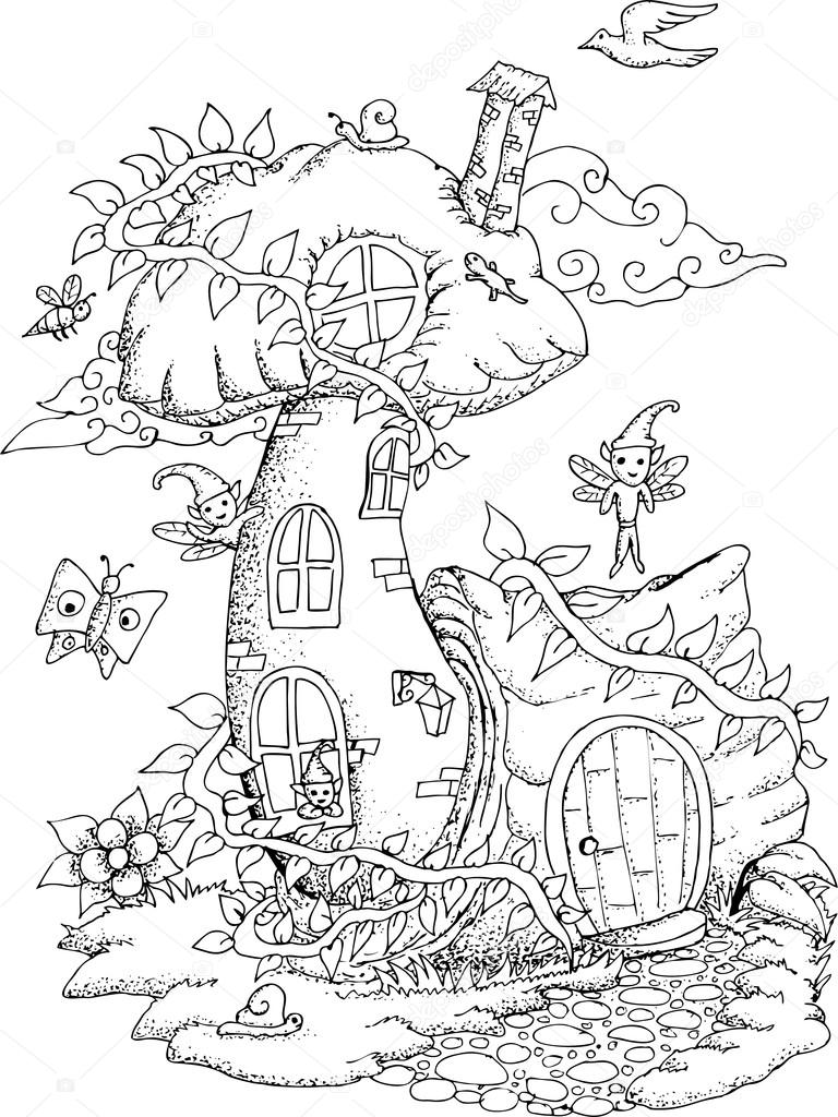 Black and white illustration of a fairy house for adult coloring ...