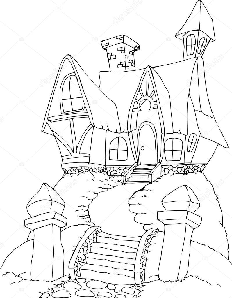 Illustrazione Di Una Casa Di Strega Fata Per Libro Da Colorare