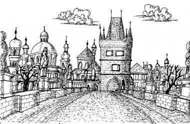 Old Prague Charles Bridge Sketch