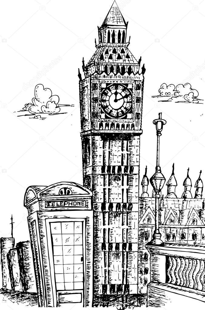 Lo Sketch Di Punto Di Riferimento Di Big Ben Londra Vettoriali