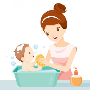 Mother Washing Baby