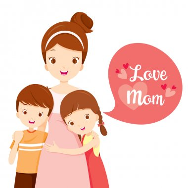 Mother's Day, Mother, Embracing, Hug, Sibling, Love, Children stock vector