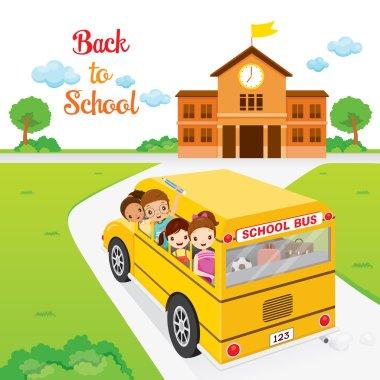 Children Going To School By School Bus