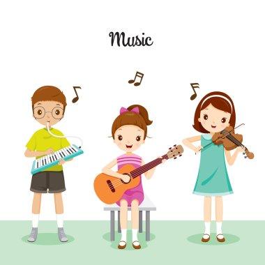 Children Playing Music By Harmonium, Guitar And Violin