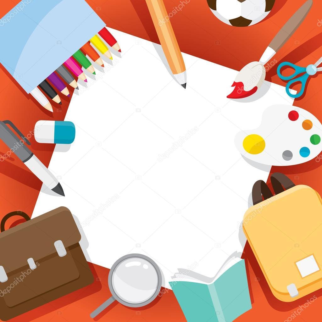 Objetos en el marco de útiles escolares — Archivo Imágenes ...