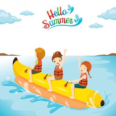 Children Having Fun On Banana Boat
