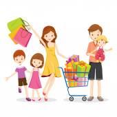 Fényképek Családi bevásárló- és ajándék doboz a bevásárlókosár