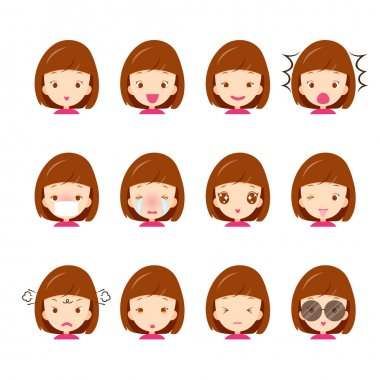 Emoticon icons set of cute girl with various emotions