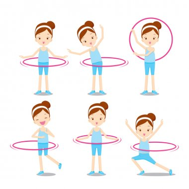Cute girl with hula hoop twirling actions set