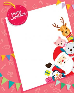 Christmas Card With Santa Claus And Animals