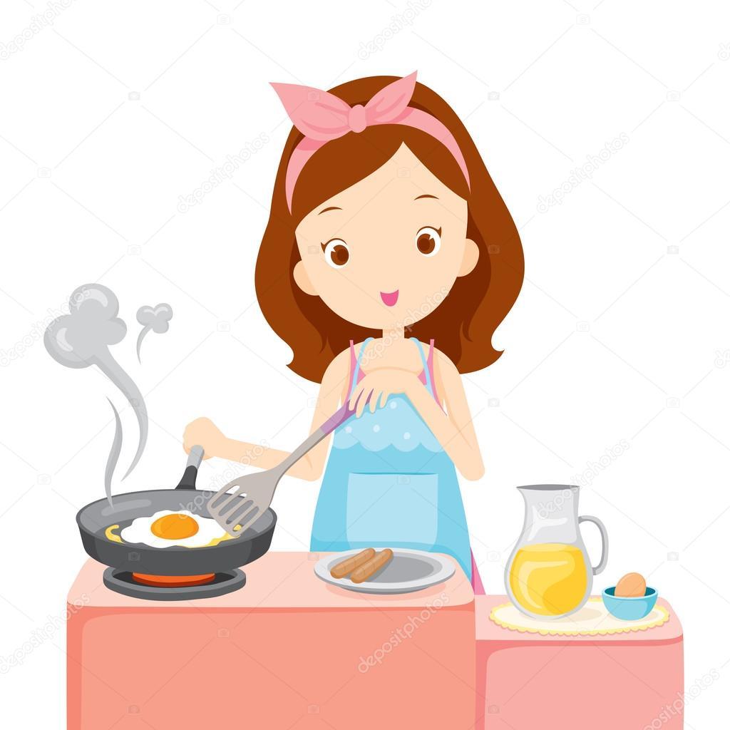 Menina, Cozinhar Ovo Frito No Café Da Manhã